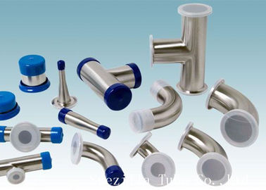 China AISI 304 Stainless Steel Sanitary Fittings Long 45 Degree Elbow For Beverage supplier