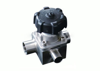 China Sanitary Three Way Diaphragm Valve Welded Ends 1'' To 4'' , 10 Bar Max Pressure factory