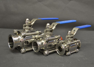 China AISI 304 316L Sanitary Tri Clamp Ball Valves With Full Port Ends , Manual Type factory