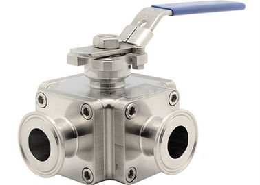 China Cross Sanitary Stainless Steel Ball Valves , 1 Inch 4 Way Ball Valve For Cosmetic factory